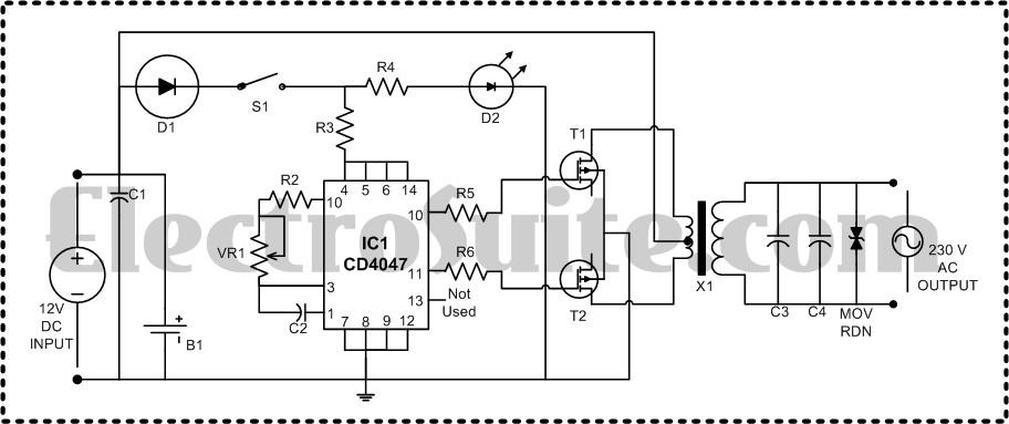 Invertor 12VDC, 220VAC ,100W « Scheme Electrice