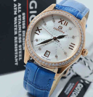 jam tangan Giotona blue leather rosegold