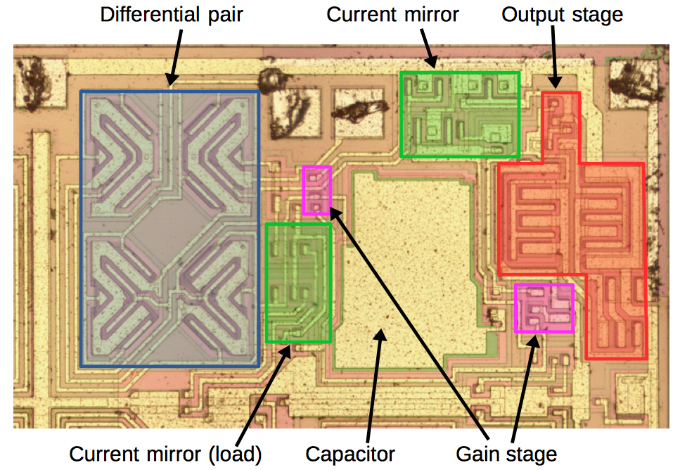 Silicon die analysis: inside an op amp with interesting