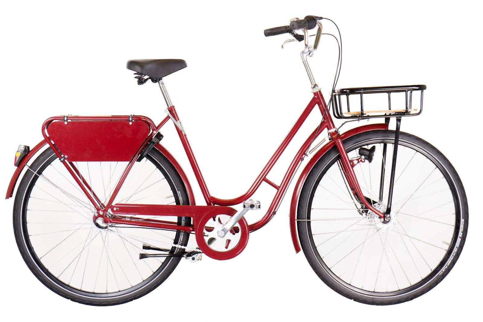 Pilen Lyx dam Röd helfärgad företagscykel.