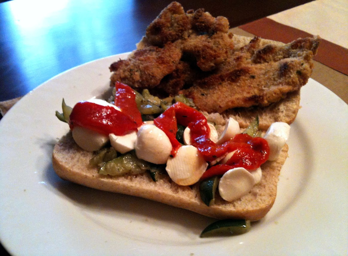 Chicken Cutlet Sandwich with Roasted Red Peppers, Mozzarella, and Zucchini