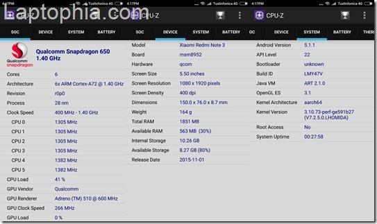 Benchmark Xiaomi Redmi Note 3 CPU-Z