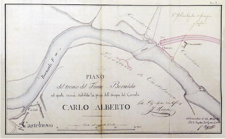 Progetto Negretti - planimetria della presa del canale e della chiusa 1833
