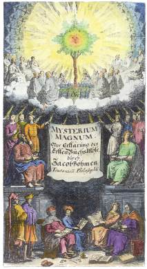 Engraved Frontispiece From Gichtel Edition Of Boehme Mysterium Magnum, Emblems Related To Alchemy