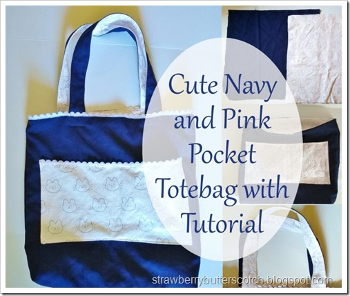 Cute Navy and Pink Pocket Totebag with Tutorial