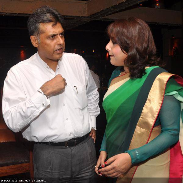 Vani Tripathi with Manish Tiwari during her birthday bash, held in Delhi.
