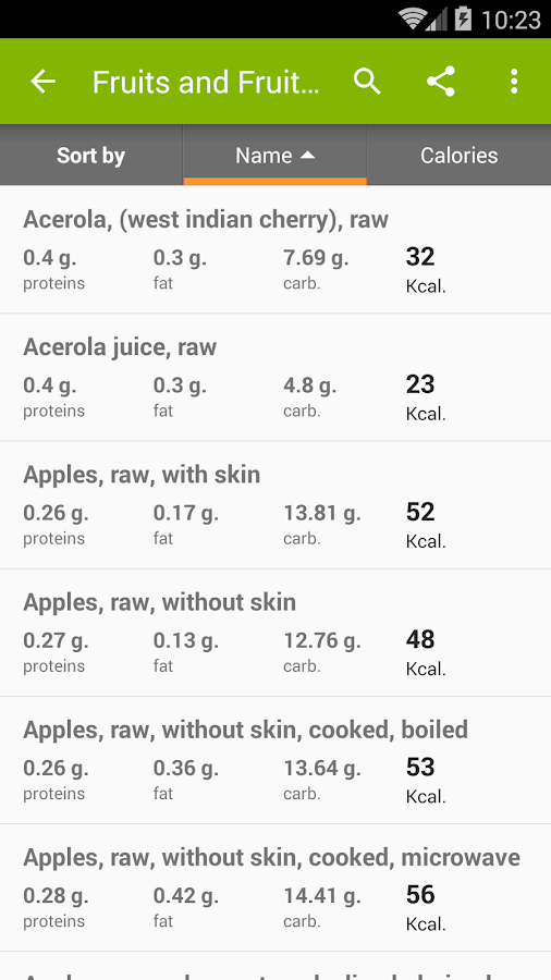 Calories in food- screenshot