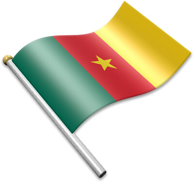 The Cameroonian flag on a flagpole clipart image