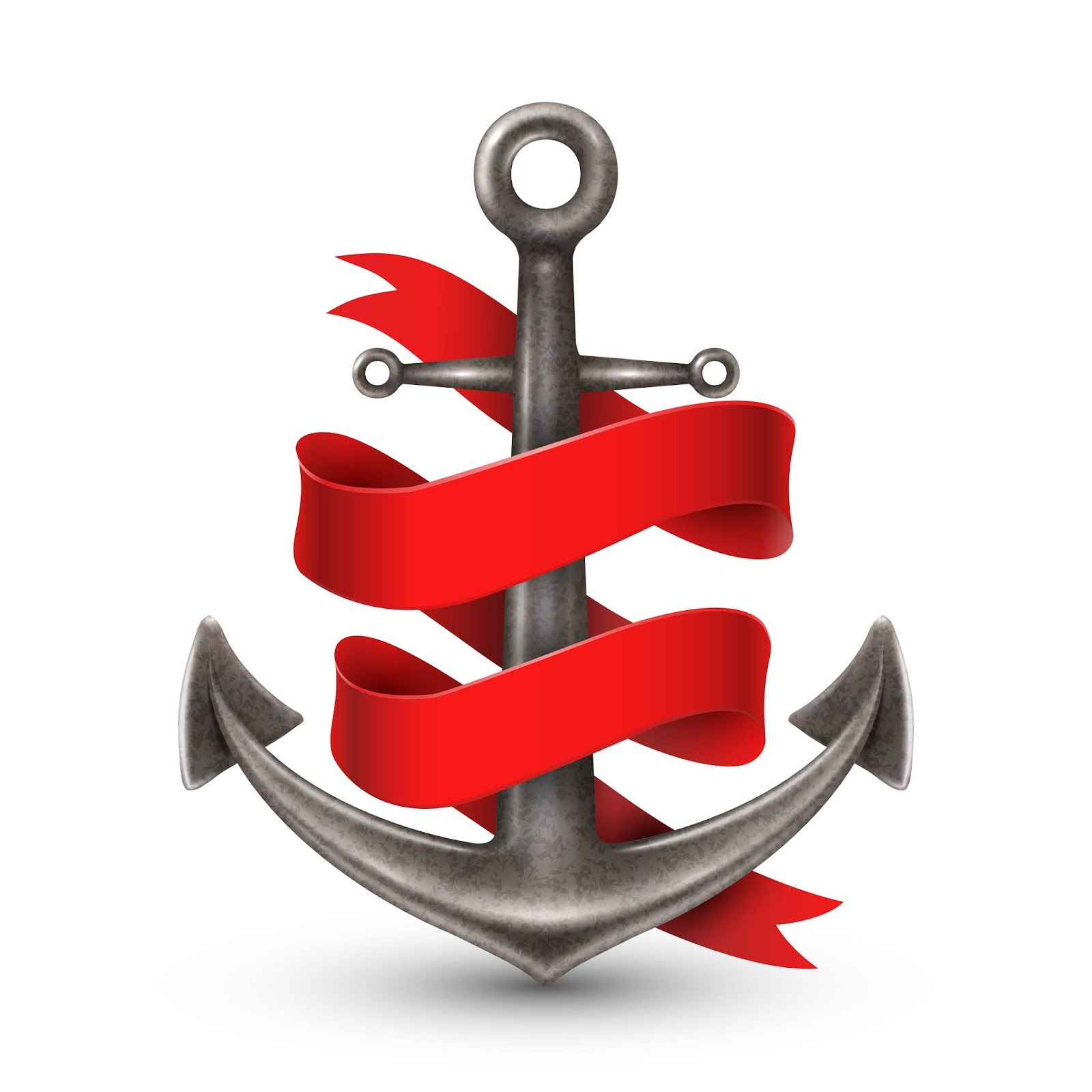 Realistic Anchor With Red Ribbon	 Free Download Vector CDR, AI, EPS and PNG Formats