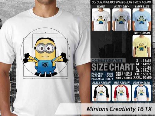 Kaos Kartun Minions Creativity 16 distro ocean seven