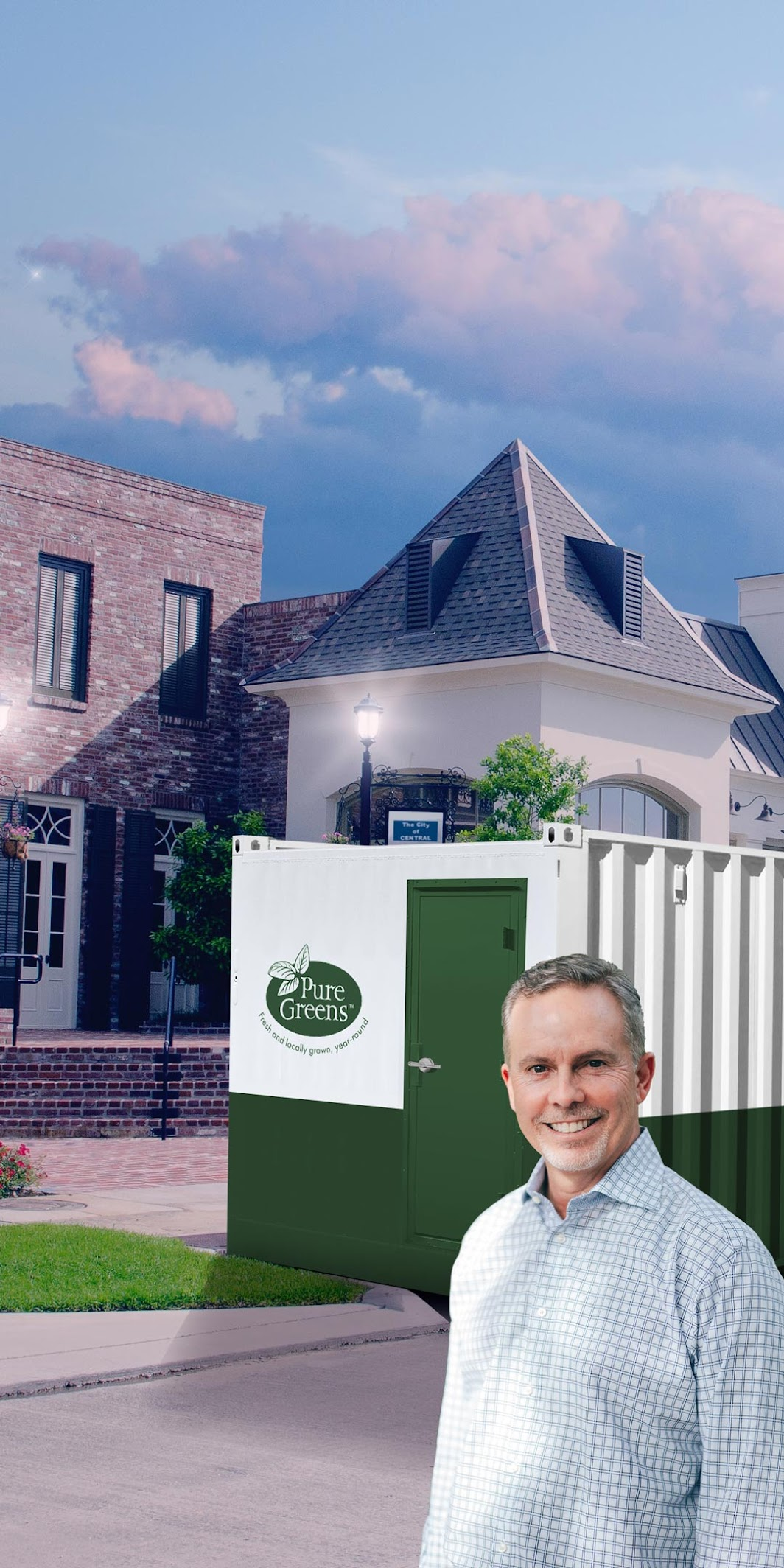 Image of an older man in front of a Senior Living Container Farm