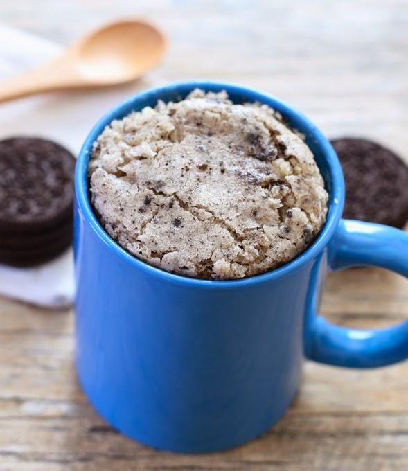 close-up photo of a Cookies n' Cream Mug Cake