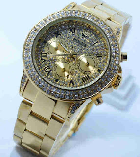 jam tangan Rolex chrono aktif full Gold