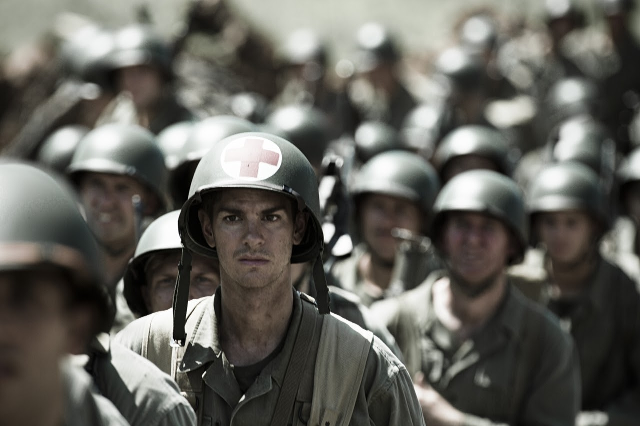 Andrew Garfield stars as 'Desmond Doss' in HACKSAW RIDGE. (Photo by Mark Rogers / Lionsgate).