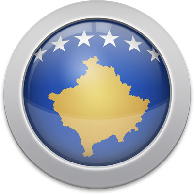 Kosovar flag icon with a silver frame