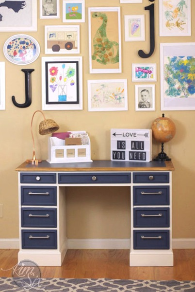 Blue white and wood desk