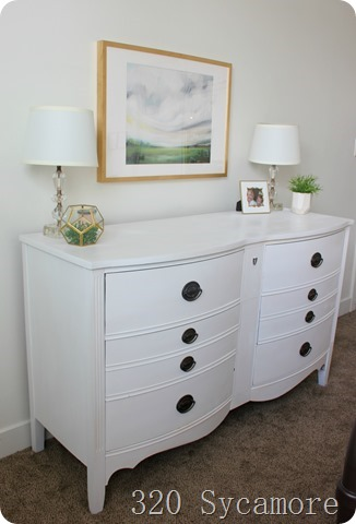 white painted dresser artwork
