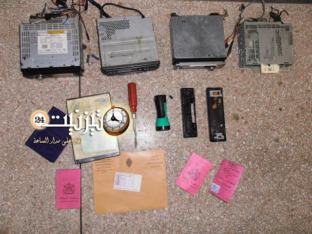 سارق محتويات 14 سيارة بتيزنيت في قبضة الأمن / مرفق بصورة للمحجوزات