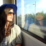 my sister in the train in Amsterdam, Noord Holland, Netherlands