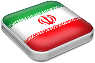 Flag of Iran with metallic square frame