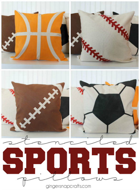 Stenciled Sports Pillows at GingerSnapCrafts.com #stenciled #pillows #homedecor