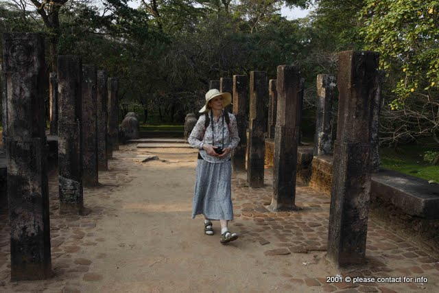 Olga in archeological site at Polonnaruwa