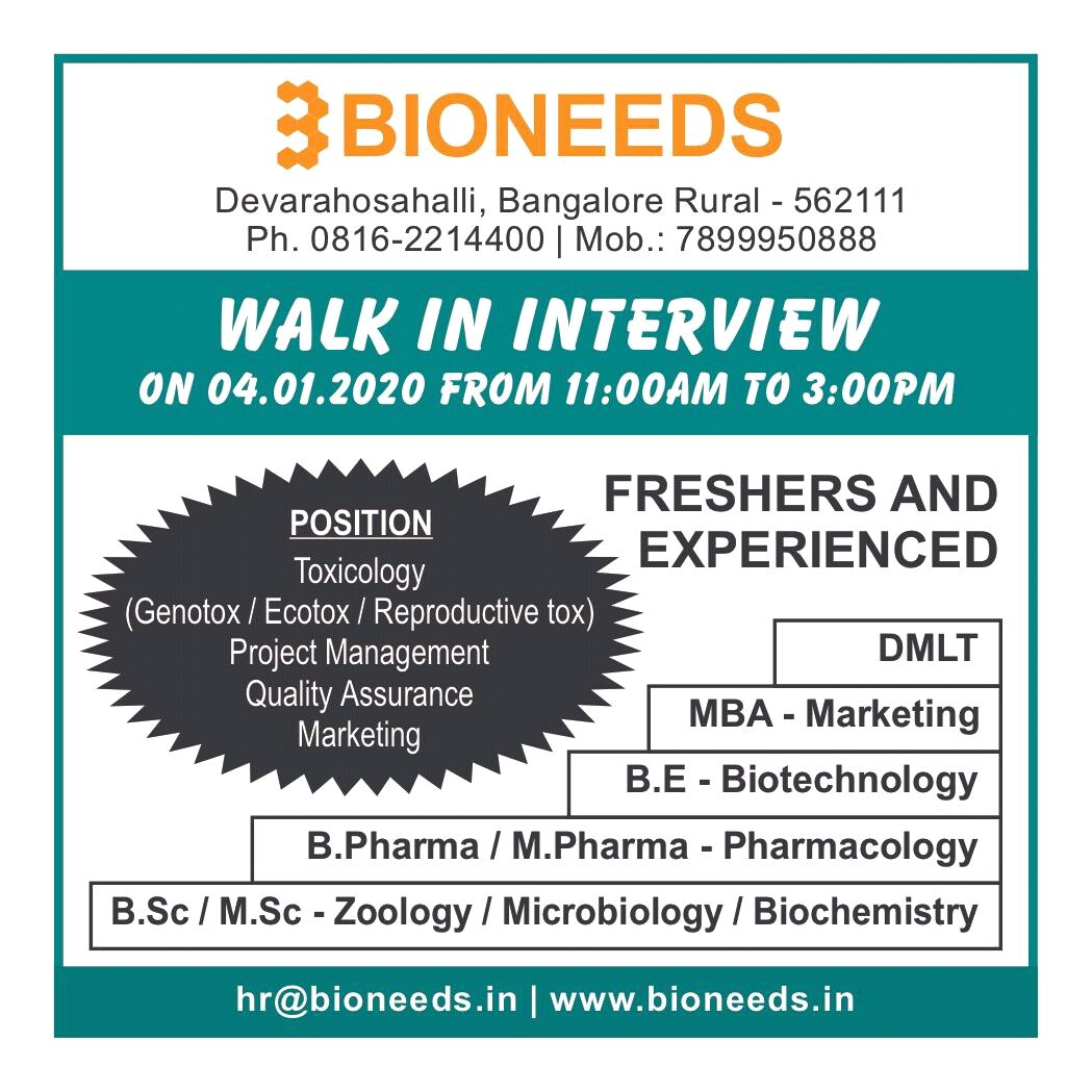 BIONEEDS - Walk-Ins for Freshers & Experience - QA / Project Management / Toxicology / Marketing on 4th Jan' 2020