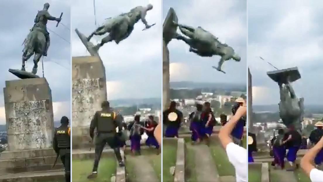 Increíble!. Autoridades ofrecen 5 millones por indígenas que derribaron estatua de Belalcázar