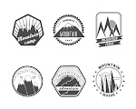 Collection Decorative Round Polyangular Snowy Mountains Summer Camp Labels Isolated Vector Illustration Free Download Vector CDR, AI, EPS and PNG Formats