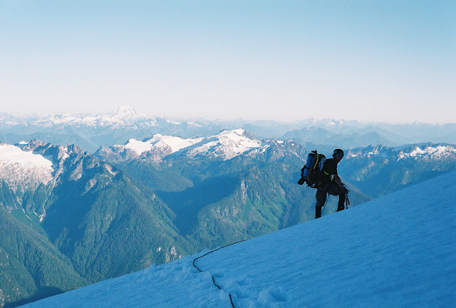 North Face route on Mt. Shuksan at about the 8,000 foot elevation is an exhilarating adventure. / Credit: Norman Senour
