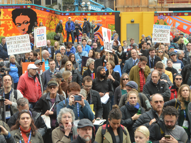 Demonstrators gathered in support of science and to protest the antiscience bent of the incoming Trump administration at a rally near the AGU Fall Meeting in San Francisco on 13 December 2016. Photo: Randy Showstack / Eos