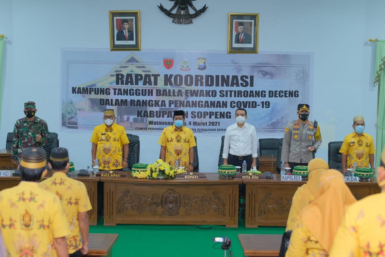 Bersama Bupati dan Dandim, Kapolres Soppeng Ikuti Rakor Kampung Tangguh BESD