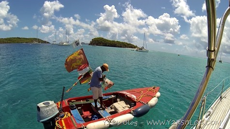 Willy e la sua nuova bandiera italiana - Tobago Cays