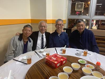 2019年12月4日,鄺鑑開、田榮先、田熾先、黃景怡參加培正同學會月會,會後在小學飯堂用膳