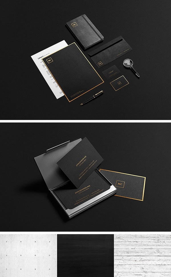 Gold Stationery MockUp PSD