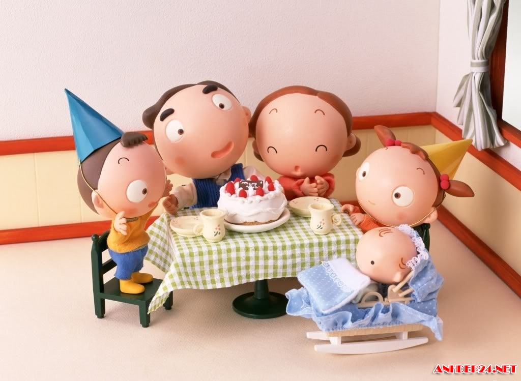 gia đình hoạt hình dễ thương