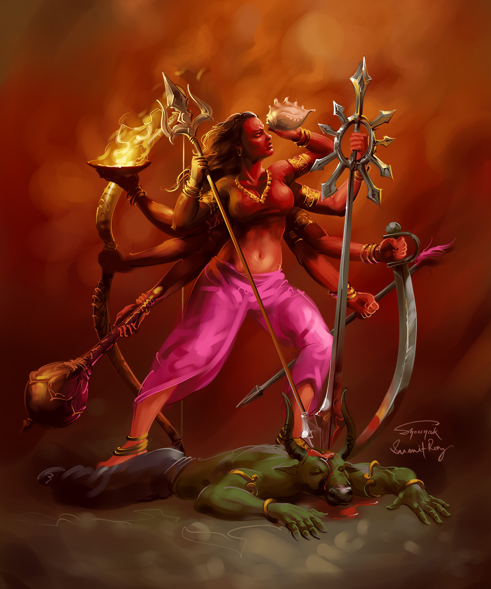 durga digital painting