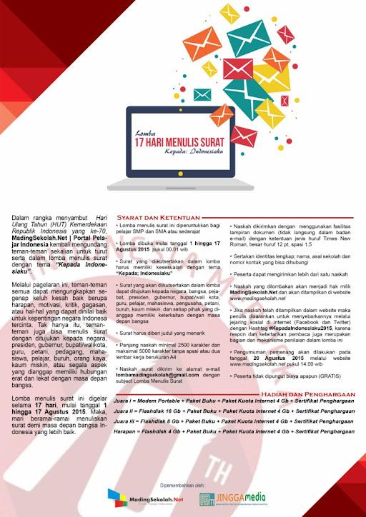 Lomba Menulis Surat: Kepada Indonesiaku