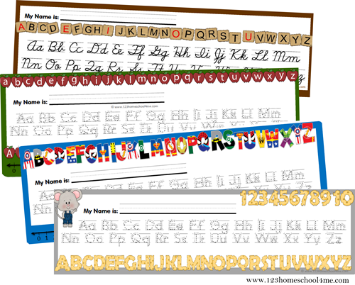 free printable alphabet desk carts (various styles)