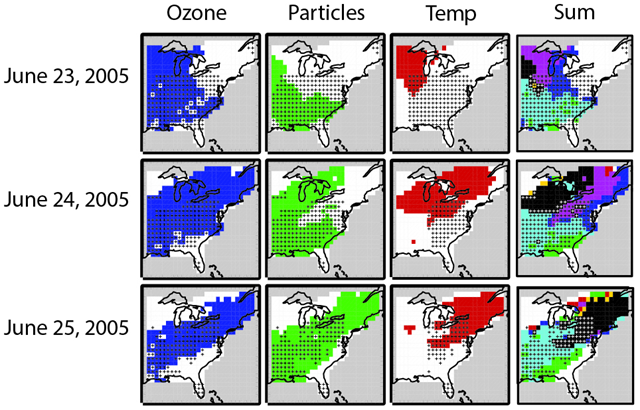 A heat wave and pollution episode struck the eastern portion of the United States and Canada in late June of 2005. Observations show the concurrence of high surface ozone, an abundance of fine particulate matter, and scorching temperatures. Graphic: Jordan Schnell / Princeton University