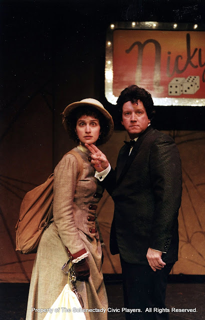Eileen McCashion and Colin McCarty in ON THE VERGE - January/February 2000.  Property of The Schenectady Civic Players Theater Archive.