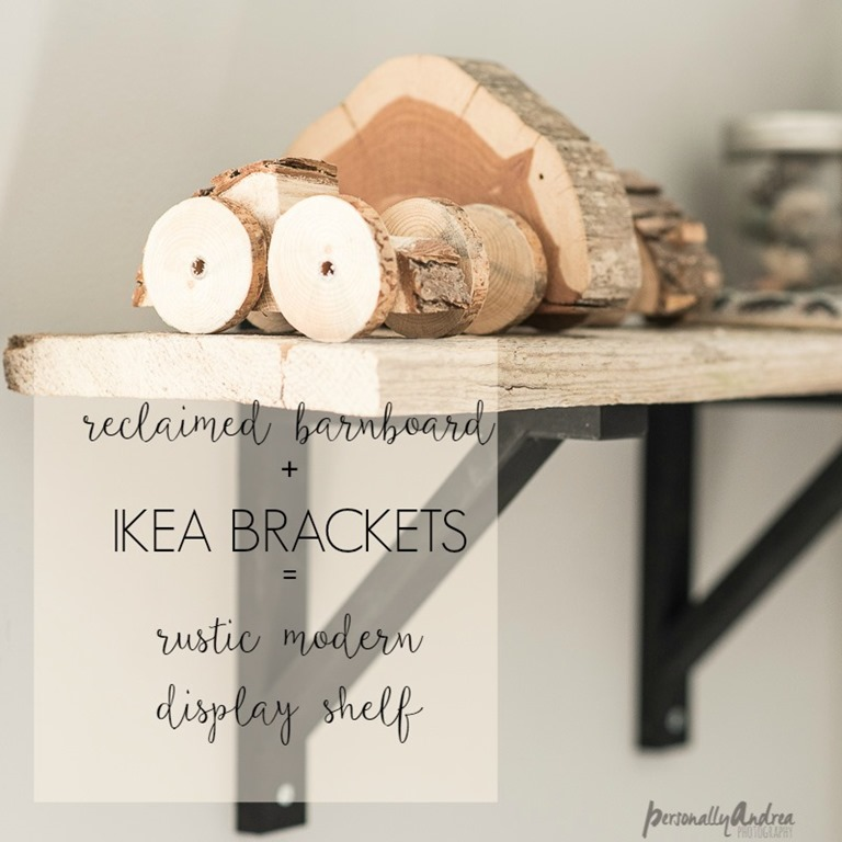 Reclaimed Barnboard + IKEA Brackets = Rustic Modern Display Shelf