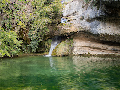 Gorg del Molinot, amb l'aigua que brolla darrere la roca