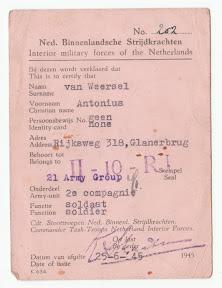 Persoonspas van Antonie van Weersel als onderdeel van het strijdend gedeelte van de Nederlandse Binnenlandse Strijdkrachten, NBS in Enschede.