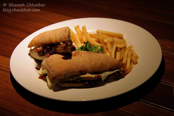 Barbeque Chicken Sandwich with French Fries served at Toss Sports Lounge Koregaon Park