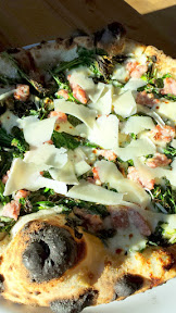 From the Forno section at Renata, Cavalo Nero pizza with sausage, pecorino and green garlic