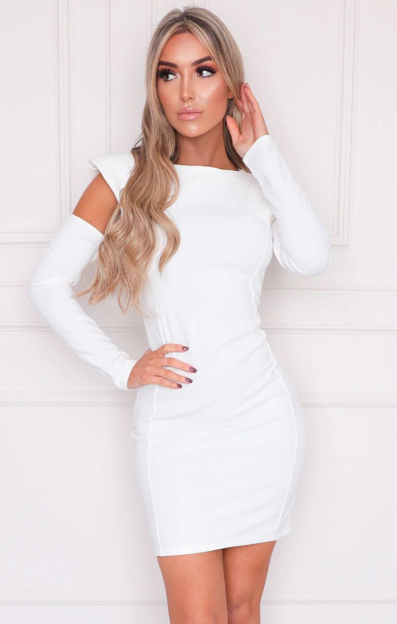 White Cut Out Shoulder Pads Bodycon Mini Dress - Colette