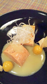 Nodoguro PDX September 2014, theme dinner Totoro. Fifth Course: Monkfish Liver Torchon with Ground Cherry Miso
