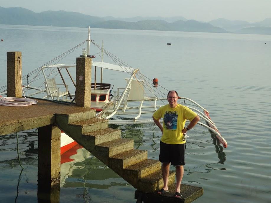 Tony Griffitts at the boat dock at Chindonan Island Resort, Palawan, Philippines.
