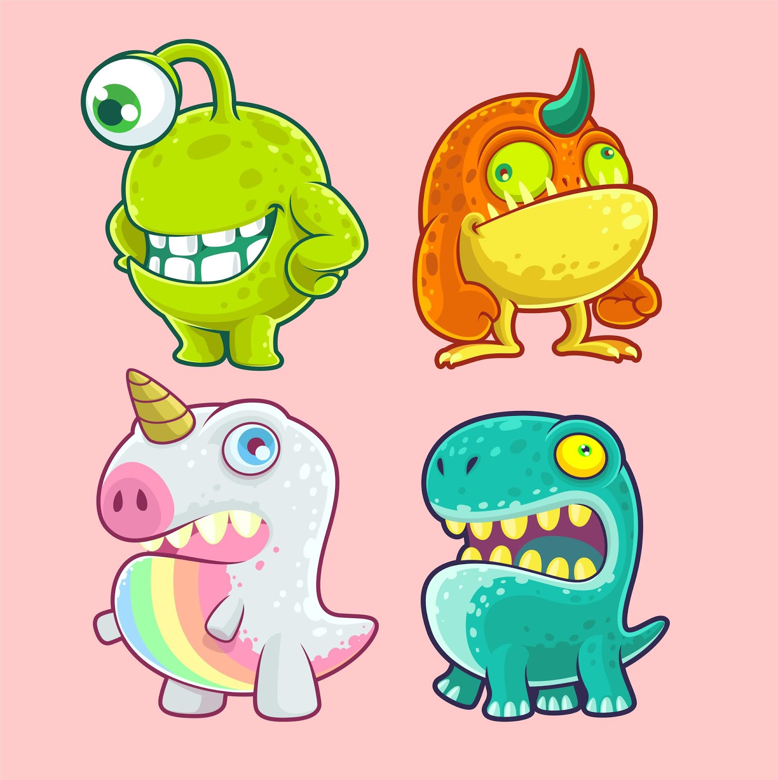 Cute Monster Character Set Free Download Vector CDR, AI, EPS and PNG Formats